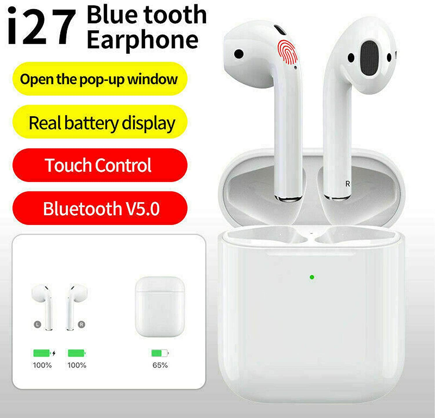 Wireless Bluetooth Headphones i27 TWS Earpods for Apple iPhone 7 8 X XR XS& Charger Case with Smart Touch
