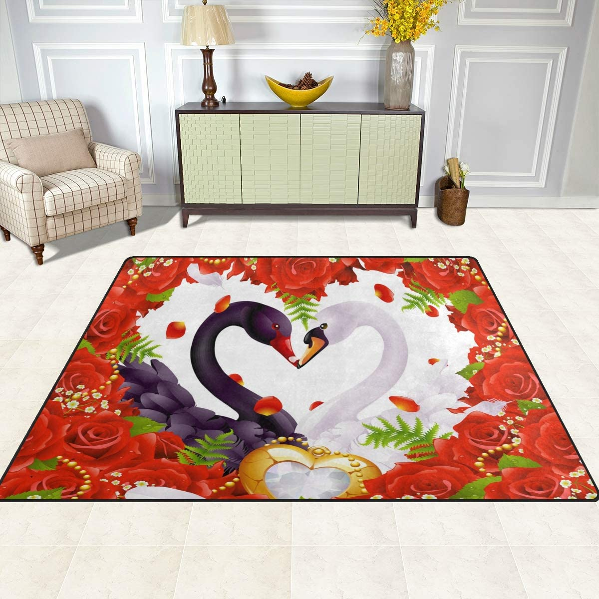 Valentine's Day Red Heart Rose Swan Living Room Floor Accessories Home Bedroom Carpet