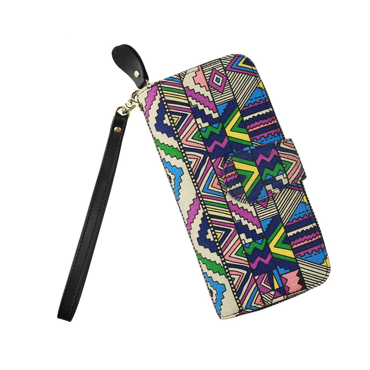 BeautyWJY Womens New Design Bohemian Style Wallet Canvas Card Holder Phone Purse Wristlet