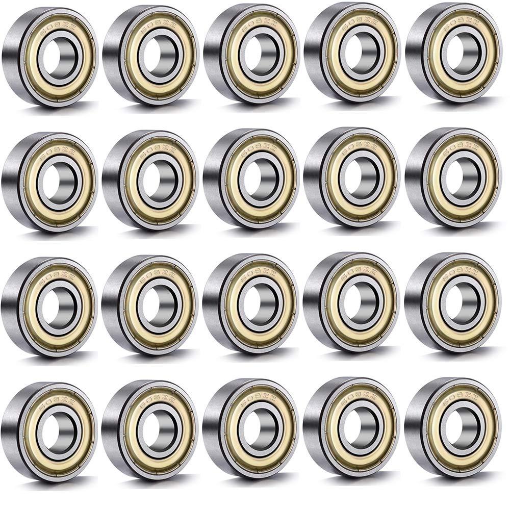 Amaoma 20 Piezas Rodamientos de Bolas 608 ZZ Rodamientos Skate Miniatura Radial Rodamientos de Bolas Rodamientos R/ígidos Doble Blindado Rodamiento de Acero al Carbono 8 mm x 22 mm x 7 mm