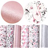 "David accessories Flamingo Floral Printed Faux Leather Fabric Sheets Vivid Pearl Light Solid Color 6 Pcs 7.8"" x 13.3…"