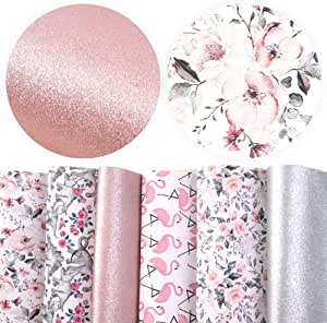 """David accessories Flamingo Floral Printed Faux Leather Fabric Sheets Vivid Pearl Light Solid Color 6 Pcs 7.8"""" x 13.3"""" (20 cm x 34 cm) for DIY Bows Earrings Making (Animal and Floral)"""