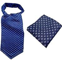 MENDENG Paisley Silk Men Ascot Cravat Tie with Pocket Square Set Wedding Prom