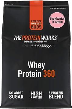 THE PROTEIN WORKS Whey Protein 360 | Batido Alto En Proteínas Para Construir Músculo| Combinación TRI-Proteica | Fresas Con Nata | 600g