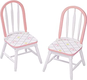 Fantasy Fields White/Pink TD-12718A2 Swan Lake Ballerina Set of 2 Chairs | Hand-Painted Kids Wooden Furniture