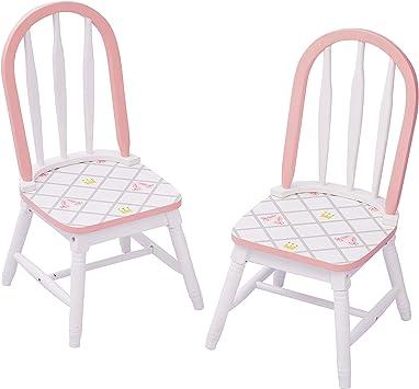 Fantasy Fields Swan Lake Ballerina Set of 2 Chairs Hand-Painted Kids Wooden Furniture Set per Bambini di 2 sedie