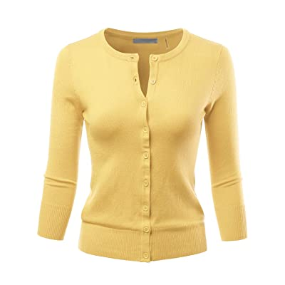 LALABEE Women's 3/4 Sleeve Crewneck Button Down Knit Sweater Cardigan (S~3XL) at Women's Clothing store