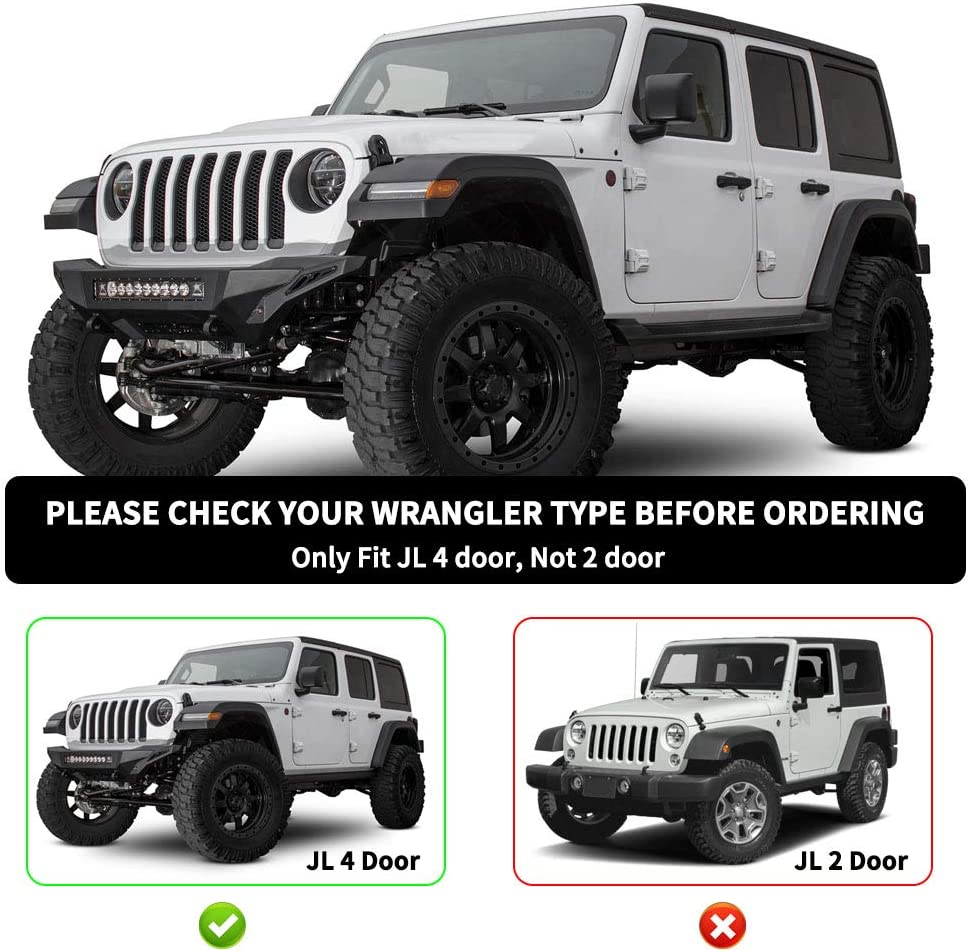 AUTOSAVER88 6 inches OE Style Running Boards Side Steps Fit for 2018-2019 Jeep Wrangler JL 4-Door Black Excl JK Model Nerf Bars