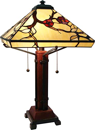 Fine Art Lighting M1698 224 Glass Counts Includes 12 Cabochons Mission Style Tiffany Table Lamp