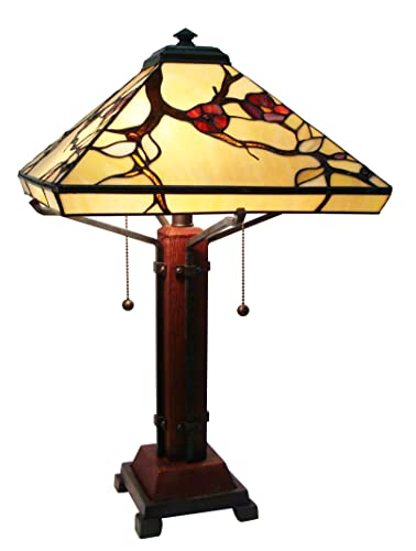 Fine Art Lighting M1698 224 Glass Counts Includes 12 Cabochons Mission Style Tiffany Table Lamp, 14 x 24