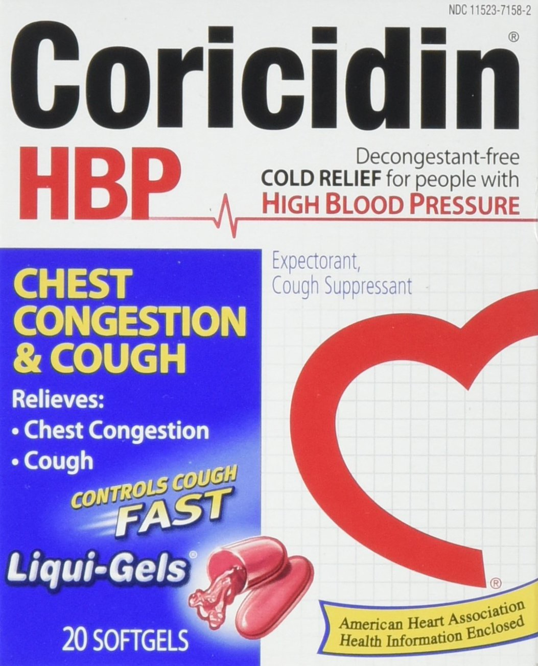 Coricidin Hbp Chest Congestion & Cough Liqui-Gels, 20 Count (Pack of 36)