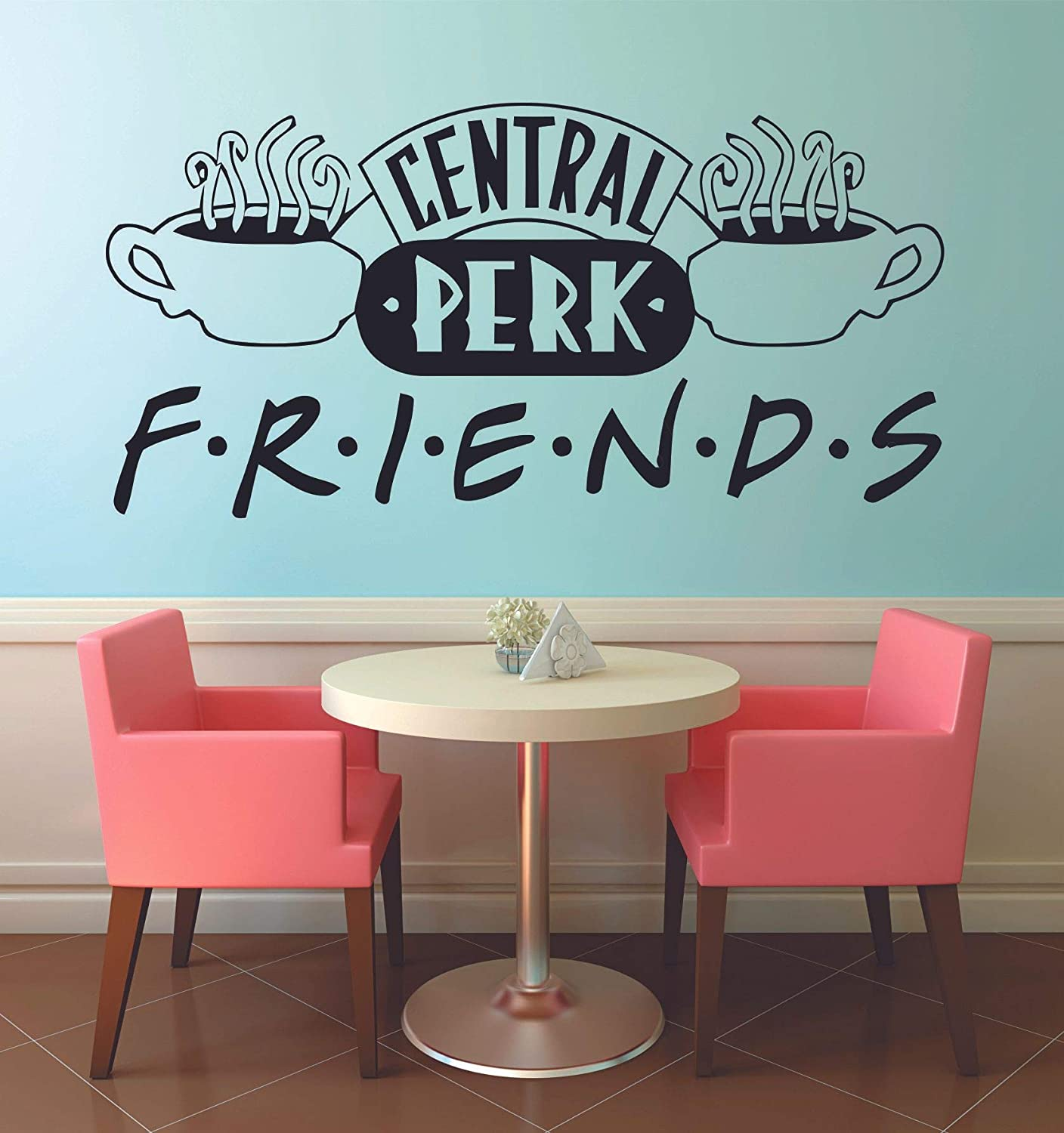 Central Perk Logo FRIENDS TV Show Series Quote Television Wall Stickers Decor Design for Boys/Girls Entertainment Bedroom Fans Rooms Home Art Murals Decals Wall Art Vinyl Decoration Size (18x20 inch)