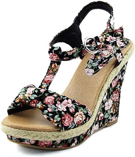 a023ecc2cad78 Amazon.com | Top Moda Women's Book-1 Black Floral Ankle Strap Wedge ...