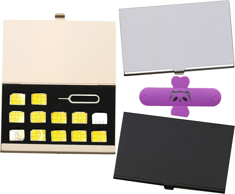 Lieomo 3 Colors 3PCS Nano SIM Cards Holder Aluminum Case Bag Storage Box
