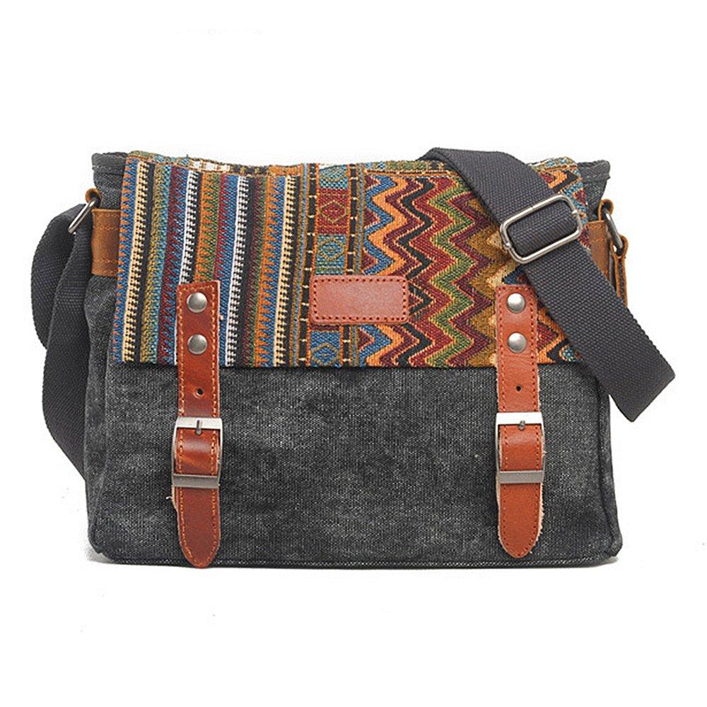 FXTXYMX 11.8 inch iPad Carrying Case Functional Hand Bag Tablets Messenger Bag Leisure Canvas Shoulder Crossbody Bag For Men Women College Teens (Dark Gray)