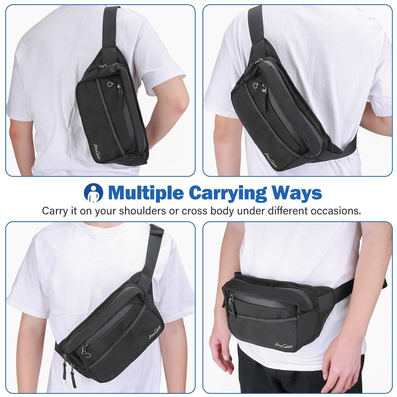 Waist Bag Hip Pack for Travel Hiking Running Cycling Outdoor Sports Black ProCase Fanny Pack Waist Packs for Men Women