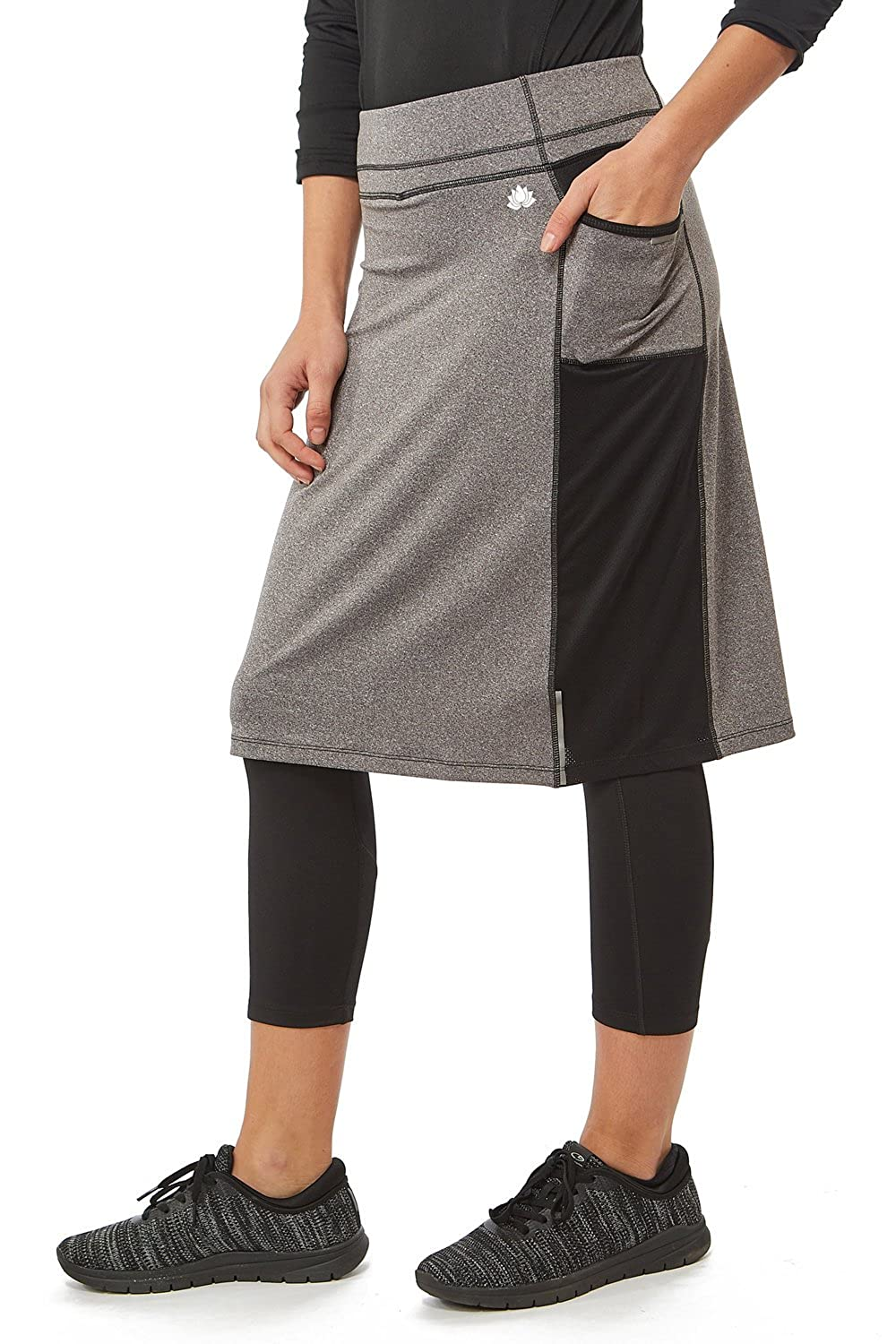 Color Block Snoga Modest Athleisure Skirt with Pockets Grey/Black - XS M27-blkgry-xs