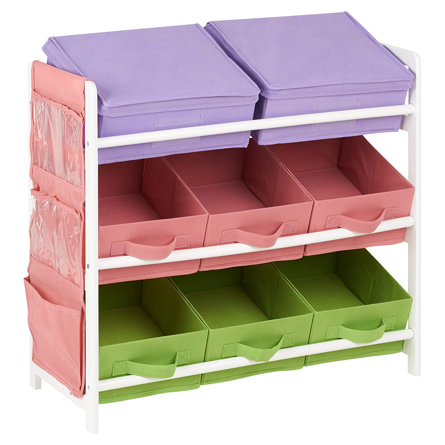 Hartleys 3 Tier Storage Unit with 8 Colourful Canvas Bins - Purple, Pink & Green
