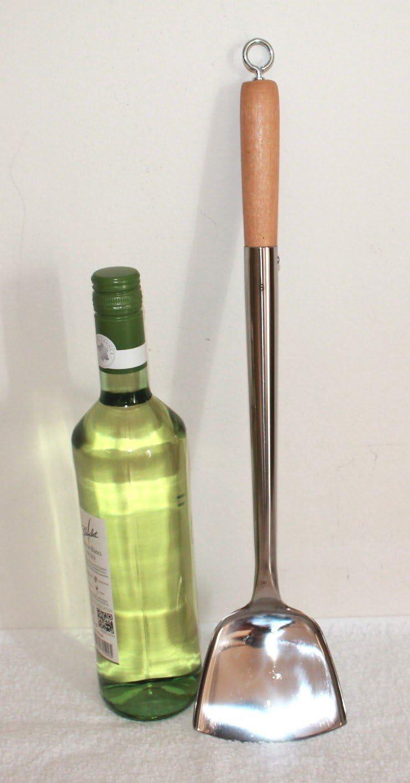 46 cm lang AAF Nommel/® genietet Wok Spahtel Pfannenwender flach 004 Edelstahl mit /Öse auch zum Aufh/ängen Gr/ö/ße S Kelle 10 x 9 cm mit Holzgriff