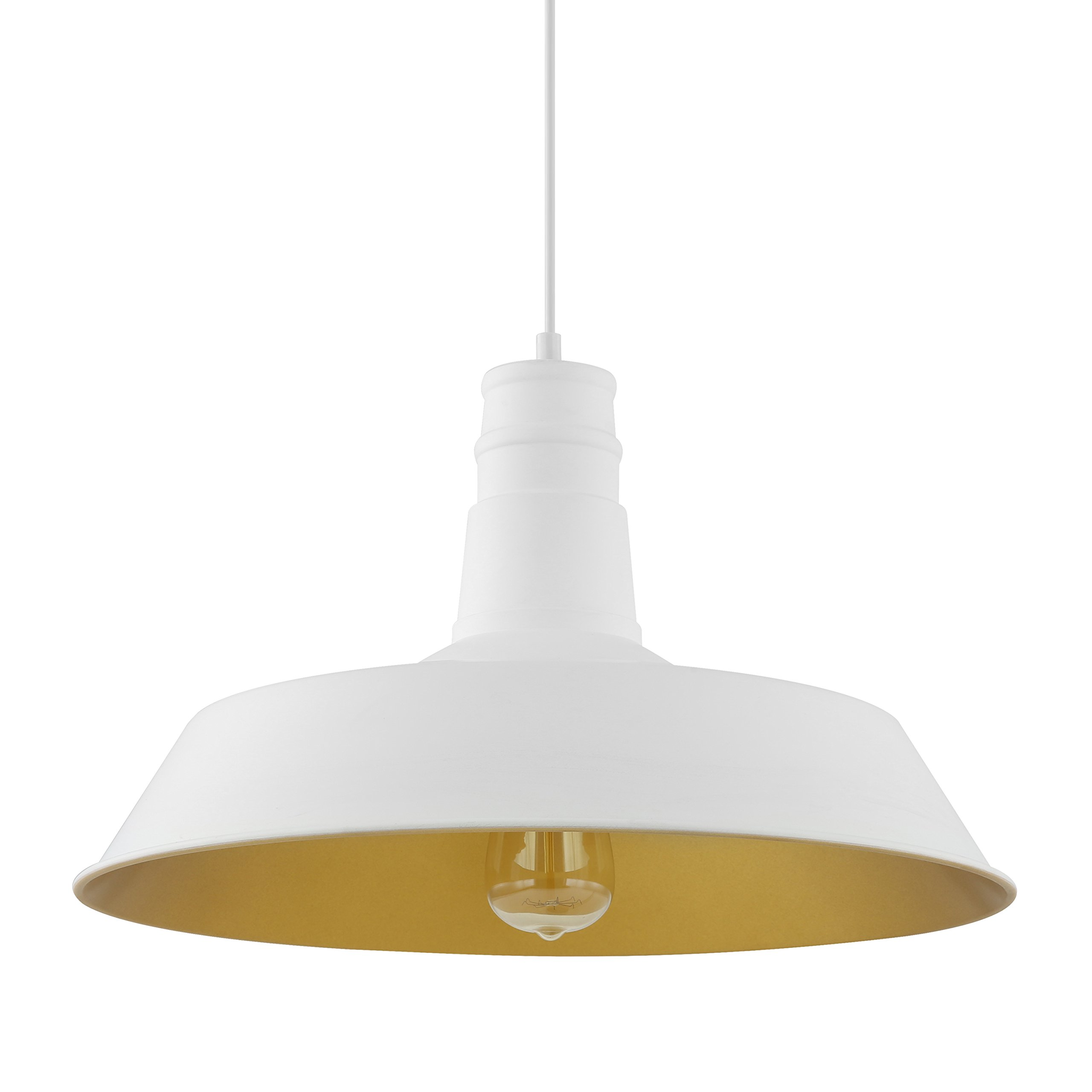 Light Society Stafford Large Pendant Light, Matte White Shade with Gold Interior, Vintage Modern Industrial Farmhouse Lighting Fixture (LS-C168-WHI)