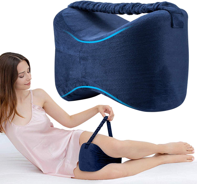 Almohadas para piernas con Correa, Almohadas ortopédicas para Dormir con de Memoria para durmientes de Lado, Almohada para la Rodilla para el Embarazo Pierna Cadera Alivio del Dolor de Espalda Azul