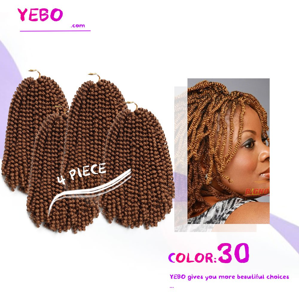 4 Pack Spring Twist Crochet Braiding Hair Ombre Colors Synthetic