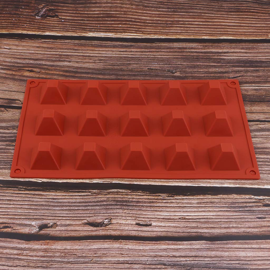 and More Jelly Dessert Bread,Chocolate,Candle Making Jewelry Making kesoto 15-Cavity Silicone Pyramid Silicone Mold for Soap,Cake 3 Pack