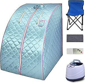 AUTOENERGY Portable Steam Sauna Spa, 2L Personal Sauna for Relaxation at Home,One Person Sauna with Remote Control,Foldable Chair,Timer (Blue)