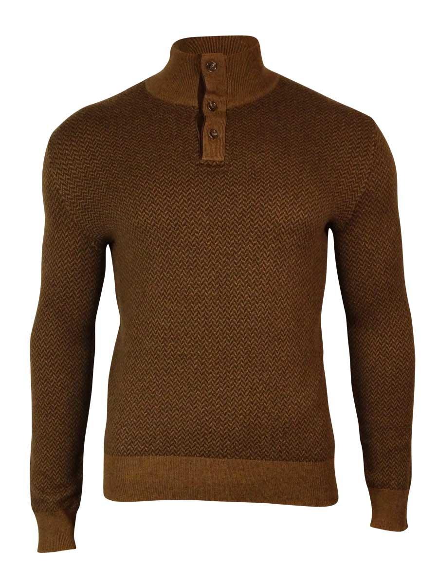 Polo Ralph Lauren Men's Buttoned Collar Herringbone Sweater (S, Camel)