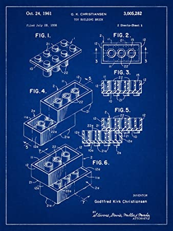 Amazon lego 2 bricks patent blueprint style art print 12x16 lego 2 bricks patent blueprint style art print 12x16 inch malvernweather Gallery