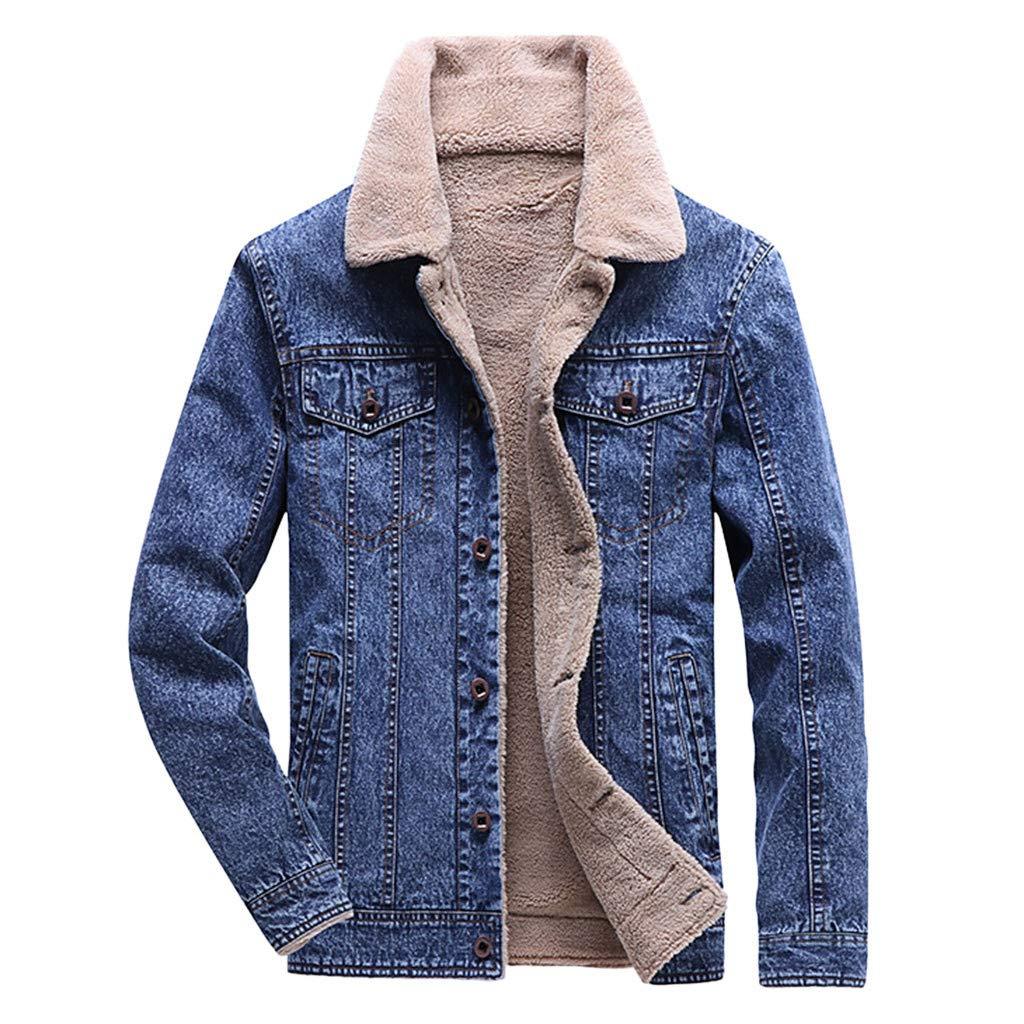 Seaintheson Men's Hooded Coat,Autumn Winter Long Sleeve Turn-Down Collar Denim Jacket Casual Hoodie Pullover Sweatshirt