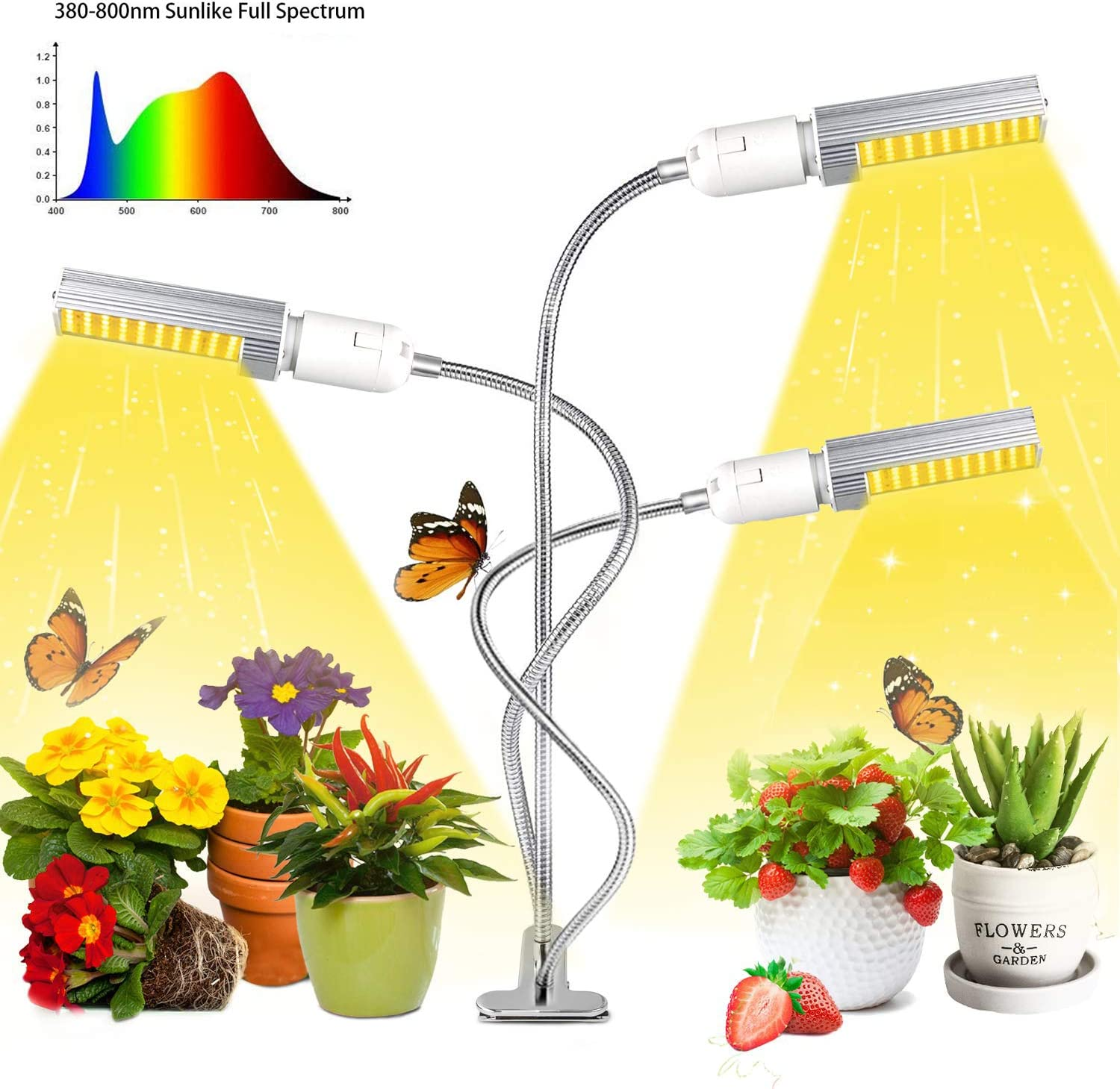 Orecla Newest 65W Led Grow Light for Indoor Plants, Super Bright 132 LEDs Sunlike Full Spectrum Grow Lamp White, Three Head Gooseneck Desk Plant Light