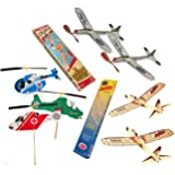 Jetfire Balsa Wood Airplanes and Sky Streak Rubber Band Powered Airplanes with Kids Windup Flying Copter Toys Bundle by Guillow