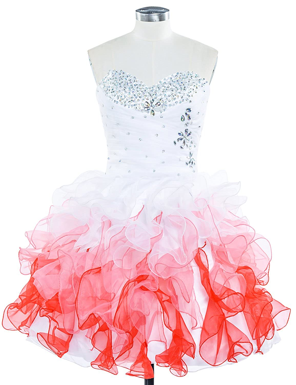 Sarahbridal Women's Short Beaded Prom Homecoming Dresses Sweetheart Organza Formal Bridesmaid Dress SSD222