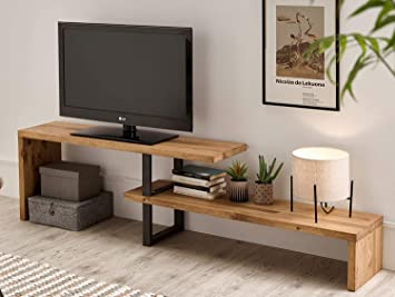TV Extensible 140 - Table TV, Meuble TV Salon Design Industriel Vintage,  Extensible de 140 cm à 170 cm, Bois Massif Naturel, Pieds métalliques.