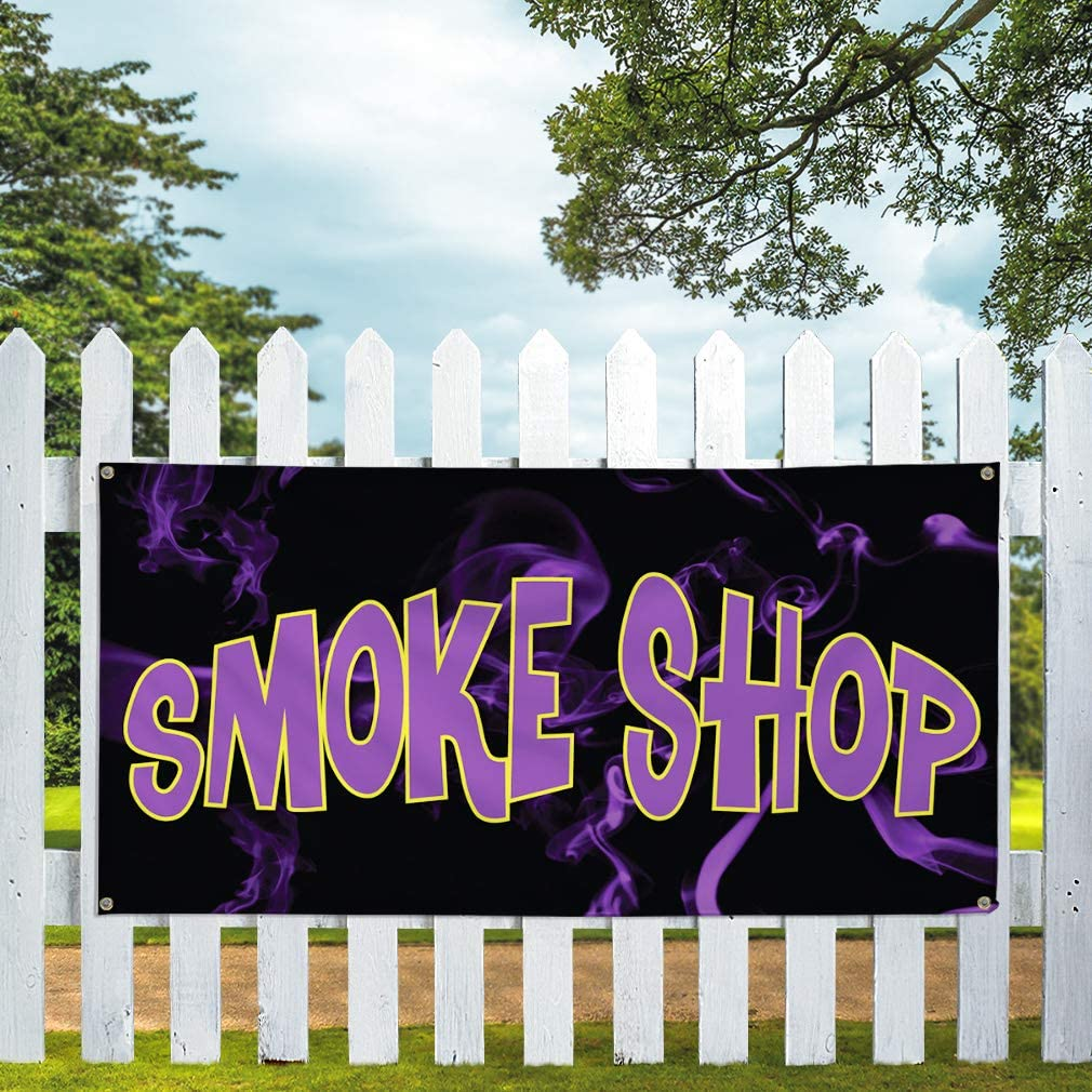 Vinyl Banner Sign Smoke Shop #1 Style F Business Banners Marketing Advertising Black 48inx96in One Banner Multiple Sizes Available 8 Grommets