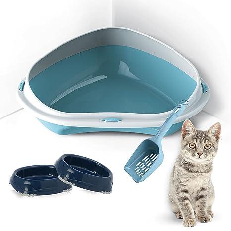 Bandeja de arena para gatos para colocar en esquinas, tamaño grande o extragrande, incluye