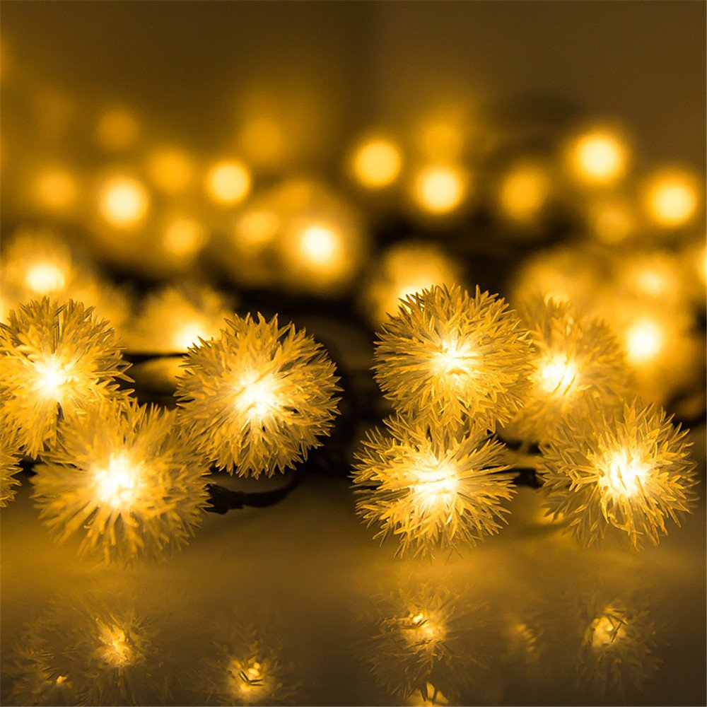 String Lights Outdoor Decorations,30 LED Snowball Waterproof Fairy Lights Decorative Solar String Lights for Home, Lawn, Wedding, Patio, Party and Holiday Decorations,Warm White