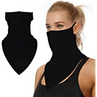 Neck Gaiter Scarf Bandana with Ear Loops UV Protection Face Cover Motorcycle Balaclava Mask for Men Women Black