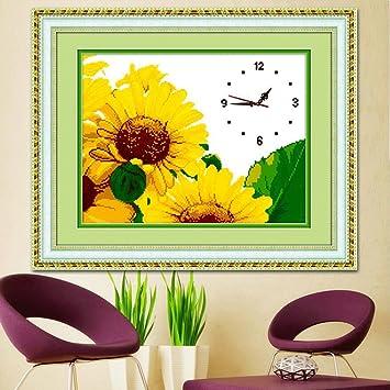 reloj de pared de Punto de Cruz de Girasol Bordado Reloj Colgante GAODUZI: Amazon.es: Hogar