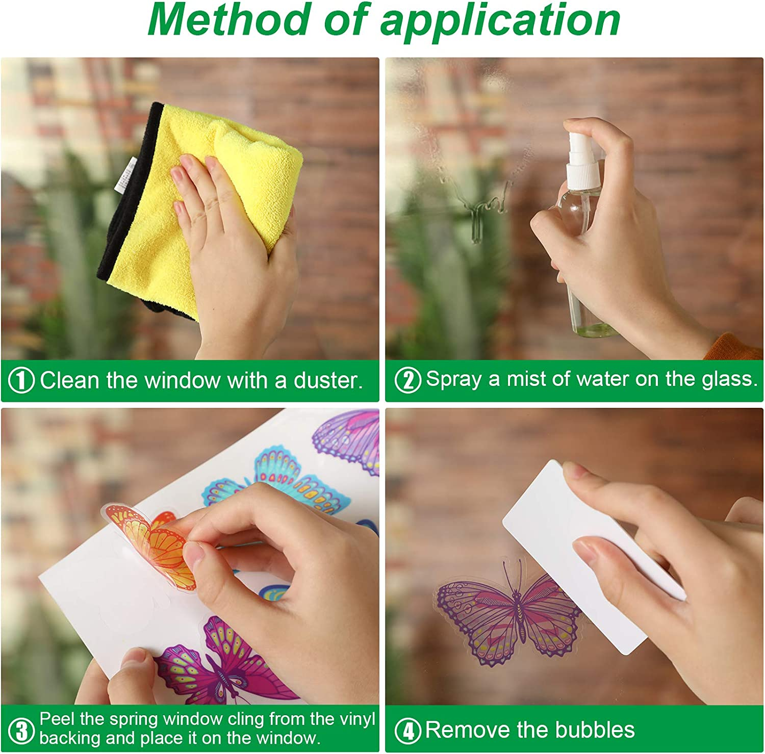 Large Size Spring Window Clings Flower Butterfly Window Decals Anti-Collision Stickers for Baby Shower Decoration Party Supplies