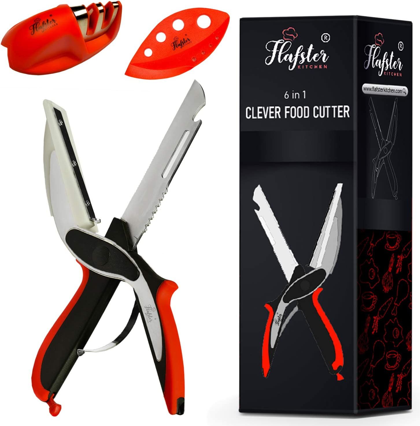 Clever Cutter 6 in 1 - Fun Cooking Gadget - Food Chopper - Vegetable cutter- Clever Cutter Kitchen Scissors - Food Shears -Kitchen Knife with Cutting Board -Knife Sharpener and Herb Stripper