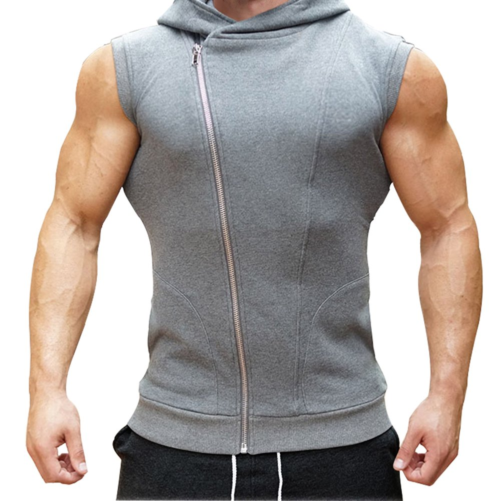 Mech-Eng Men's Workout Gym Sleeveless Hoodie Bodybuilding Muscle Vest(Grey S/Tag L)