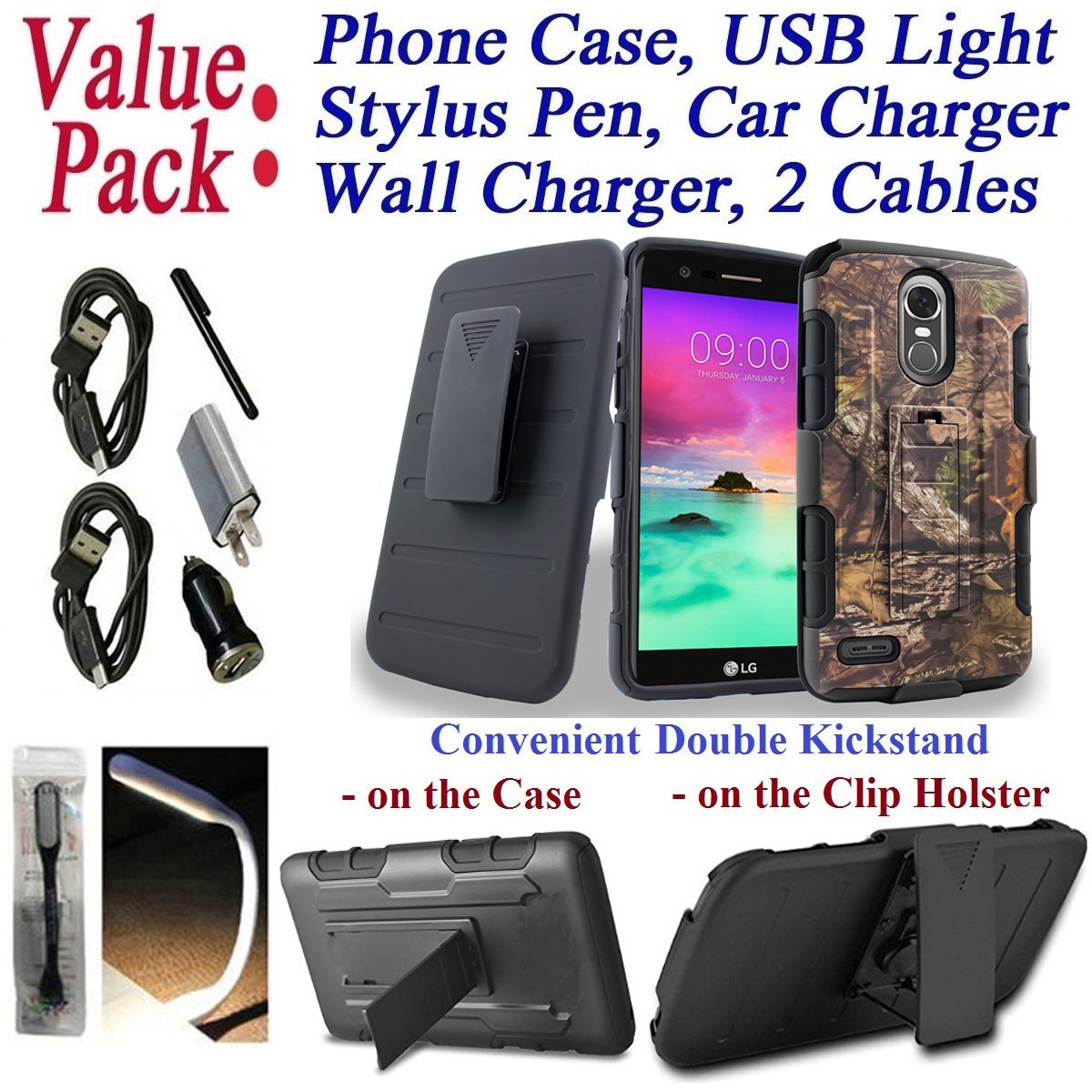 Value Pack Cables + for 5.7'' LG Stylo 3 K10 PRO Stylus 3 + PLUS Case Phone Case Belt Clip Holster 2 Kick Stands Hybrid Armor Shock Bumper Cover (Camo Stripe)