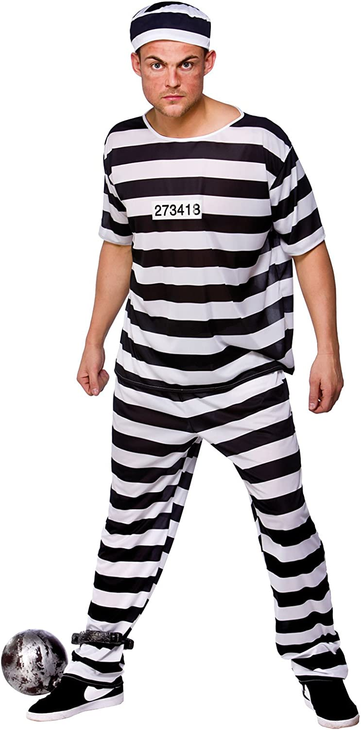 Amazon Com Prison Break Convict Prisoner Adult Costume Fancy Dress Up Party Home Improvement