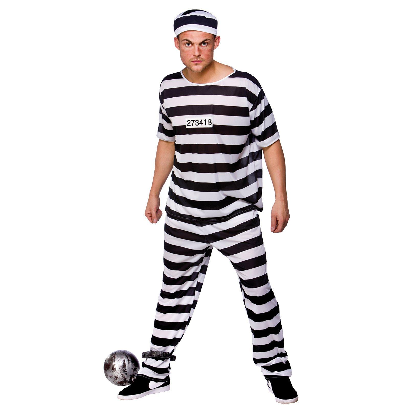 Prison Break Convict - Adult Costume Men  LARGE  sc 1 st  Amazon UK & Prisoner Costume: Amazon.co.uk
