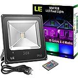 LE 50W RGB Fluter mit Fernbedienung 16 Farben 4 Modi IP66 Wasserdicht Mehrfarbig LED Flutlicht Farbwechsel Weihnachten Garten Deko beleuchtung