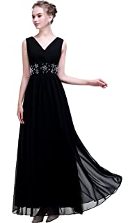esvor Esovr V Neck Handmade Beadings Chiffon Long Evening Prom Gown Bridesmaid Dresses