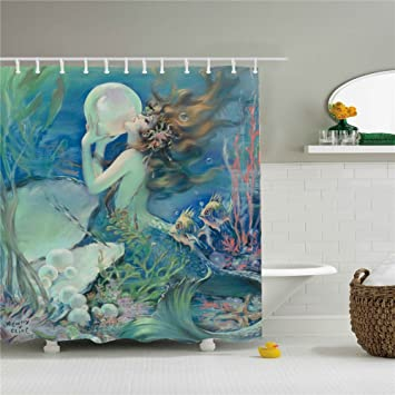 Attrayant Beautiful Mermaid Shower Curtain Polyester Waterproof Shower Curtain 12  Hooks Included,Bathroom Accessories,