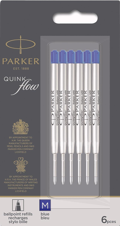 Parker Quinkflow Ballpen Medium Point Blue Ink Refill Pack of 6 Refills